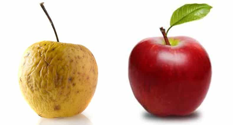 acne-scarring-compared-to-wrinkly-apple